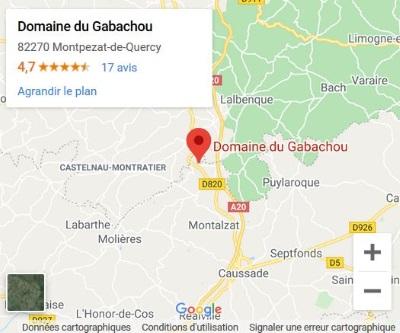 plan google maps Domaine de Gabachou 82270 Montpezat de Quercy