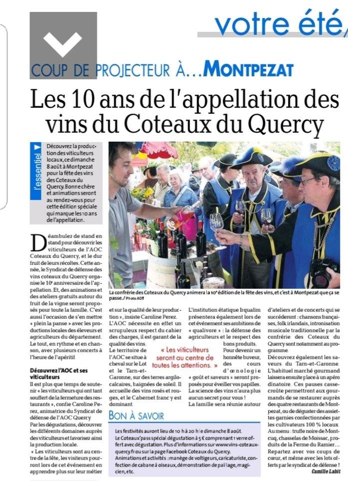 Article Les 10 ans appellation vins coteaux du Quercy avec la Confrérie à Montpezat de Quercy